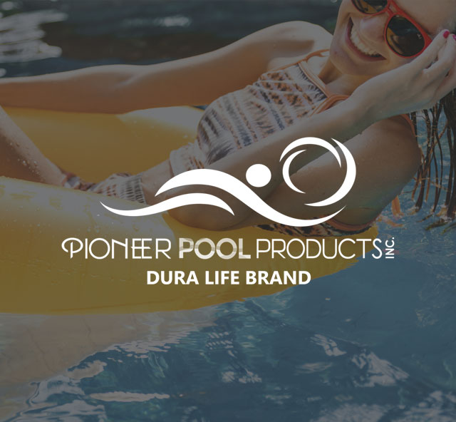 Pioneer Pool Products logo with floating woman in background | Pool and Spa Superstore Inc.