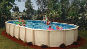 Family playing in Doughboy Above Ground Pool hero image | Pool and Spa Superstore Inc.
